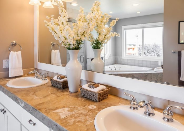cream and white contemporary bathroom